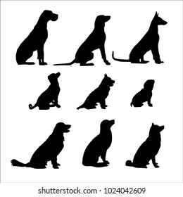 Vector image of silhouettes of the dogs sitting on white background
