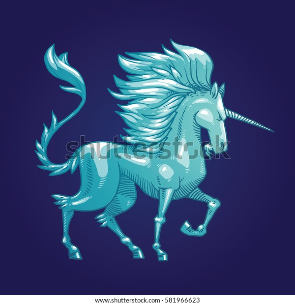 Vector image of a silver heraldic unicorn standing turned to the right and head bowed on a dark blue background. Coat of arms, heraldry, emblem, symbol. Vector illustration.