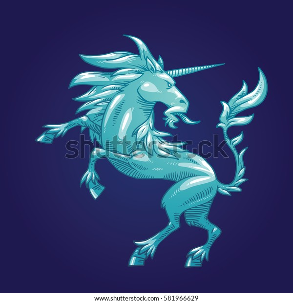 Vector image of a silver heraldic unicorn standing on his hind hooves and looking behind his back on a dark blue background. Coat of arms, heraldry, emblem, symbol. Vector illustration.