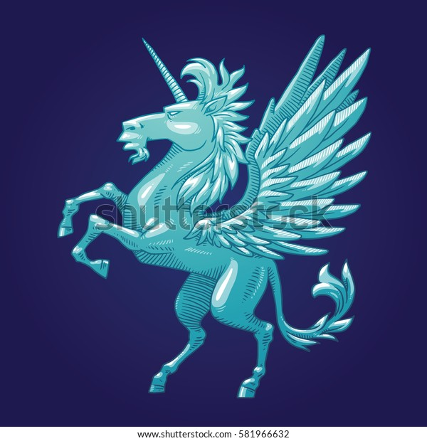 Vector image of a silver heraldic unicorn with big wings standing on his hind hooves and turn left on a dark blue background. Coat of arms, heraldry, emblem, symbol. Vector illustration.