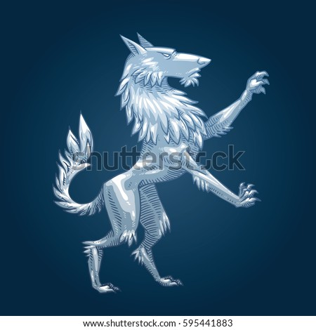 Vector Image Silver Heraldic Wolf Standing Stock Vector Royalty