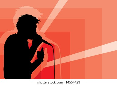 vector image of singer silhouette
