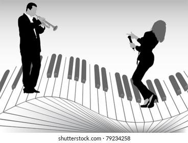 Vector image of singer and trumpet player on keys
