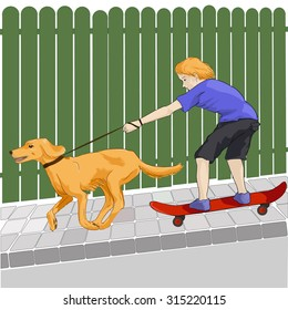 a vector image of a skateboarding teenager with a dog on a leash