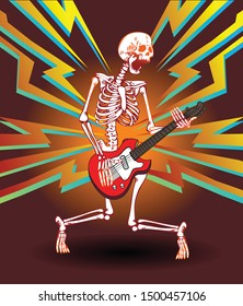 Vector image of a skeleton of a guitarist with a guitar on a bright background in the style of cartoon trash art
