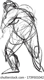 Vector image of sketch doodle of human figure in motion