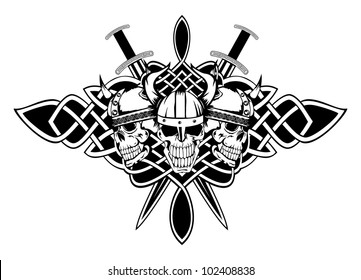 The vector image skull in an ancient helmet of Vikings and Celtic patterns