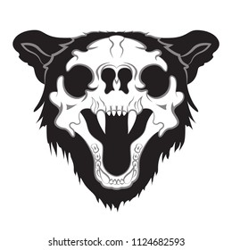 Vector image. The skull of a bear. Silhouette