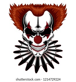 Vector image of a skull of a clown in a jabot.