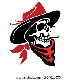 Vector image skull in a hat and scarf