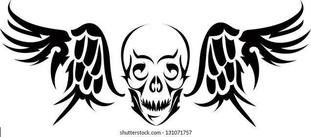 Vector image skull with wings