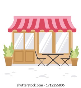 Vector image of a small restaurant building. In front of the restaurant is a table with chairs and potted plants. The work is done in a tender spring palette