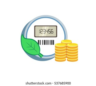 Vector image of a smart meter with a leaf and coins