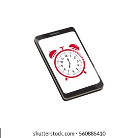 Vector image of a smartphone with an alarm clock on screen