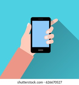 Vector image of a smartphone vertically located in the hand. Flat style with shadow. Suitable for desktop, mobile applications and the web.