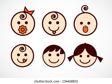 Vector image of smiling flowers with baby faces