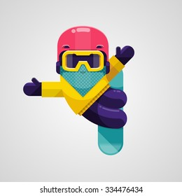 Vector image of a snowboarder doing a trick