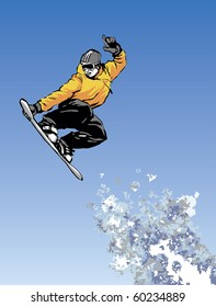 Vector image of snowboarder jumping through air with blue sky in background