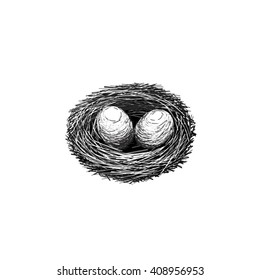 The vector image. Socket. Eggs and straw. Black and white symbol of new life. Easter