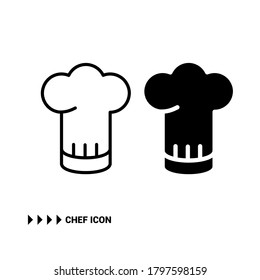 Vector image. Solid and line icon of a chef's hat. Restaurant image.