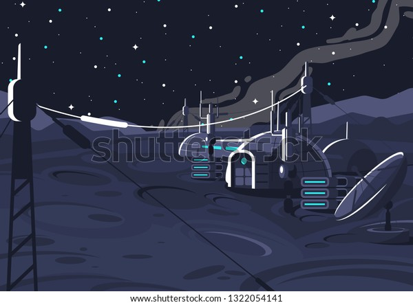 vector image of the space lunar orbital station, inhabited capsule module on the moon, communication with the earth, space house on the satellite