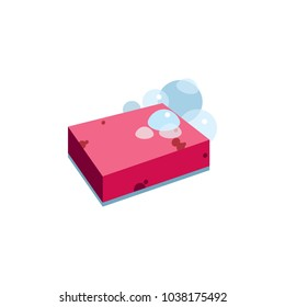 Vector image of a sponge for washing dishes. Soapy pink kitchen sponge. Isolated image. Original image. Universal use.