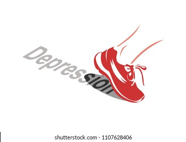 Vector image of a sport shoe stepping over the word depression