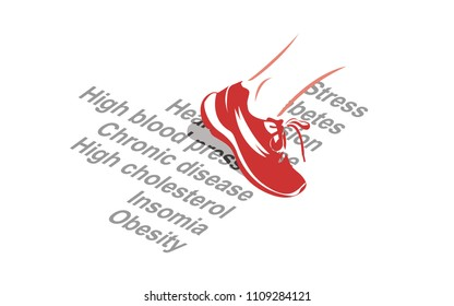 Vector image of a sport shoe stepping over various health conditions
