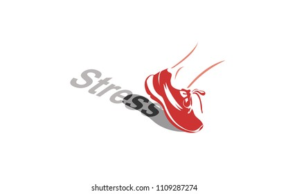 Vector image of a sport shoe stepping over the word stress