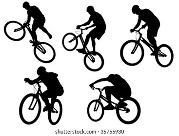 Vector image of sports bike. Silhouettes on a white background