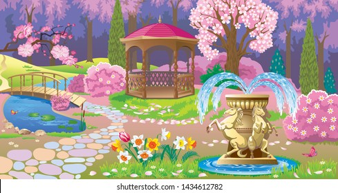 Vector image of spring garden with flowering trees, gazebo, pond and fountain with figures of horses on the edge of the forest