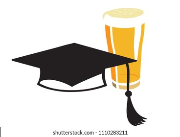 Vector image of a square academic hat and a glass of beer