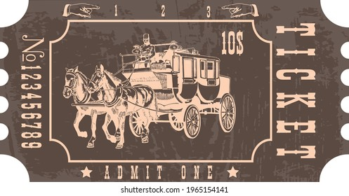 vector image of a stagecoach ticket in vintage style with the image of an old horse drawn omnibus