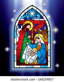 Vector image of the stained glass window depicting Christmas scene against a luminescent blue background with stars