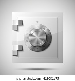 Vector Image of a steel safe. Armored box background. The door of a bank vault with a combination lock. Reliable Data Protection. Long-term savings. Deposit box icon.Protection of personal information