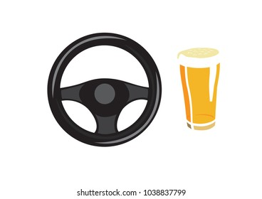 Vector image of a steering wheel and a beer