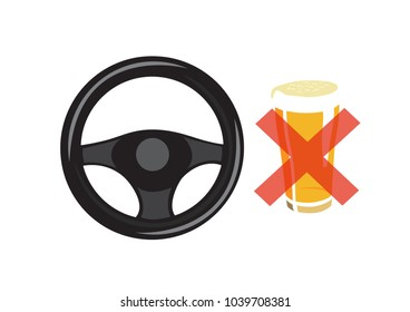 Vector image of a steering wheel and a beer with a cross through it
