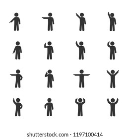 Vector image of stick figures of a person pointing a finger icons.