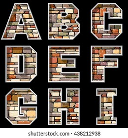 vector image of stone wall  letters and symbols part 1