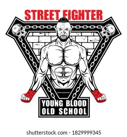Vector image of a street fighter. New Gladiator. Urban warrior. Combat champion. Boxer of the old school. Illustrations for t shirt print. Set of hand drawn sport logos, badges, labels. Sports poster.
