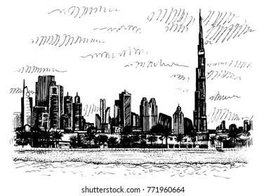 Vector image of a street in the UAE with the Khalifa tower, hotels and business center in Dubai, the tallest building in the world, hand-drawn and traced into a vector.