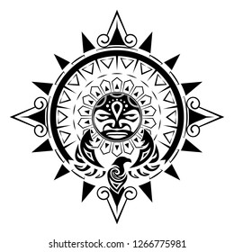 Vector image of the stylized bird and the sun. Polynesian tattoo. Patterns of Maori. Art of natives of New Zealand. Black tribal tattoo. Vector illustration.