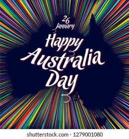 Vector image suitable for poster or greeting card on Australian Day January 26 Contour of the continent Australia outlined by colorful sparkles of fireworks with inscription Happy Australia Day
