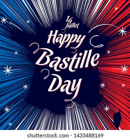 "A vector image suitable for a poster or greeting card on the Bastille Day. France's contour outlined by sparkles of fireworks with the inscription ""14. Juillet - Happy Bastille Day"" in the colors of t"