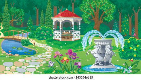 Vector image of summer garden with carved wooden gazebo, pond and marble fountain decorated with horse figures on the edge of the forest