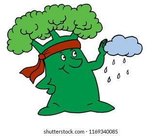 Vector image of a superhero tree blocks cloud and makes rain. Isolated on white.