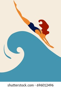 Vector image of a swimmer.Swimmer athlete.Young and slim female swimmer.