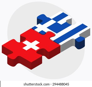 Vector Image - Switzerland and Greece Flags in puzzle isolated on white background