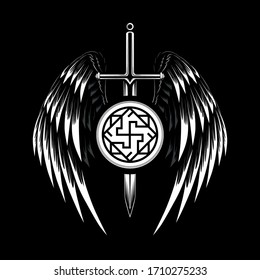 Vector image of a sword with wings. Image with a symbol of the Valkyrie. Black and white image on a black background.