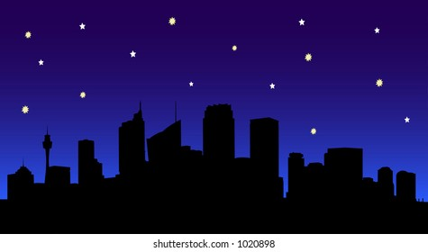 Vector Image of Sydney City Silhouette at Night.